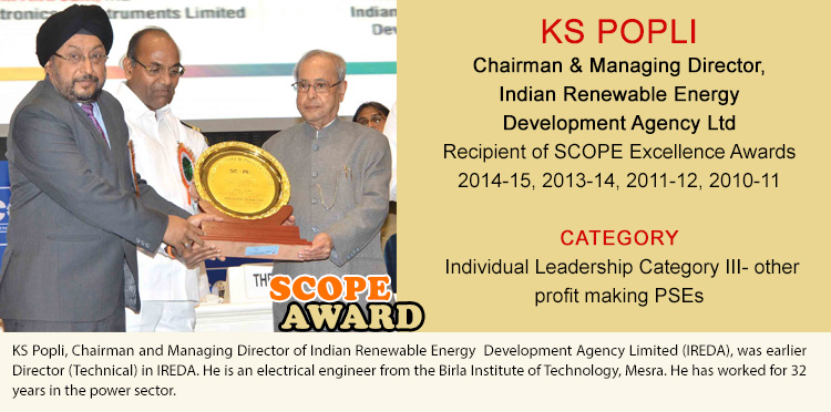 KS POPLI Chairman & Managing Director Indian Renewable Energy Development Agency Ltd