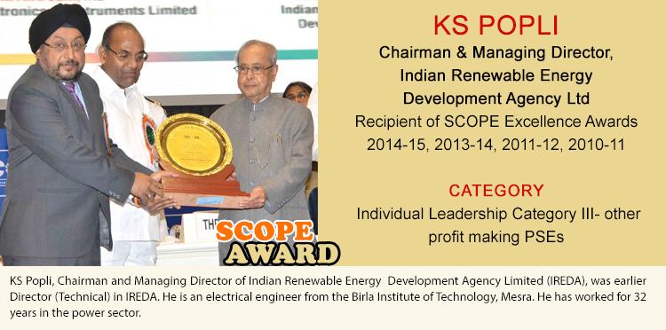 KS POPLI Chairman & Managing Director Indian Renewable Energy Development Agency Ltd