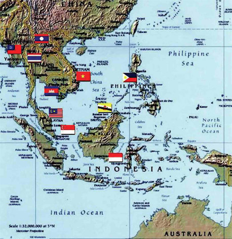 asean-country-on-map