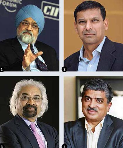 1-Montek-Singh-Ahluwalia-2-Raghuram-Rajan-3-Sam-Pitroda-4-Nandan-Nilekani