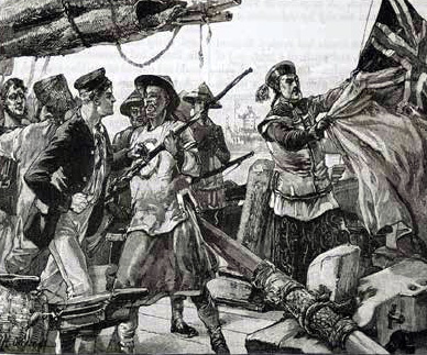 Chinese officers hauling down the British flag
