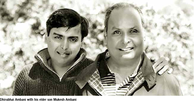 Dhirubhai ambani with Mukesh ambani